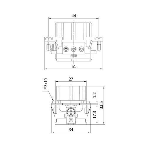Mete Enerji 29120 6x16 Amper Priz Çekirdeği ( Vida Bağlantılı )