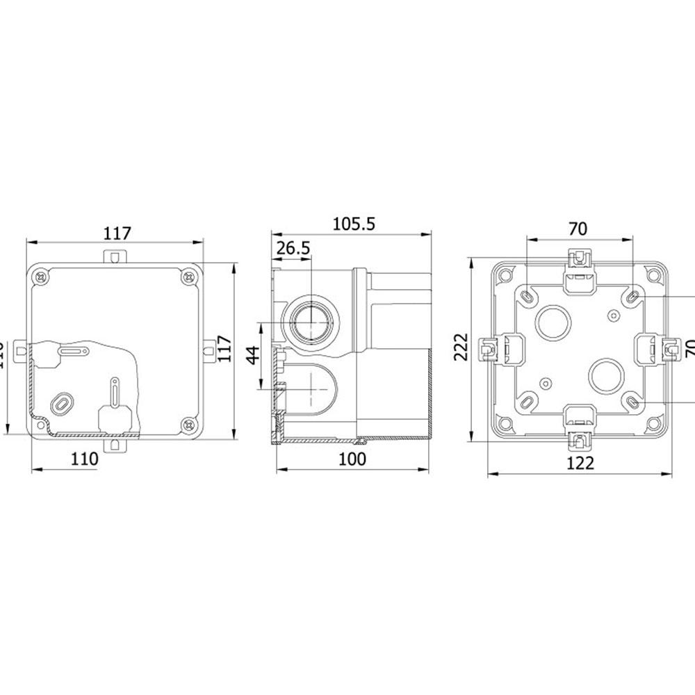 Mete Enerji 40201205 110X110X100Mm Termoplastik Buat Gri Derin Tip