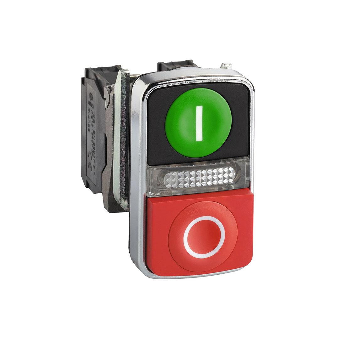 Schneider XB4BW73731M5 İkiz Buton Kırmızı/Yeşil Led 0-I 240Vac
